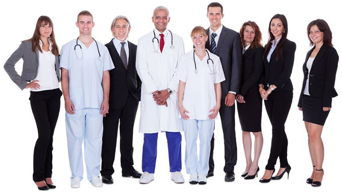 Professionals with doctor